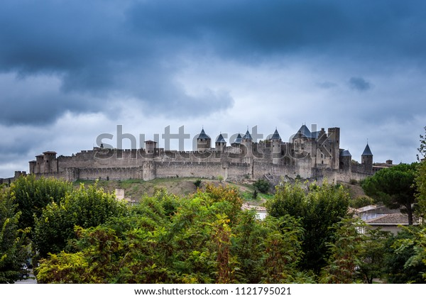 Carcassone fortress - beautiful panoramic view of old town Carcassone castle, France.