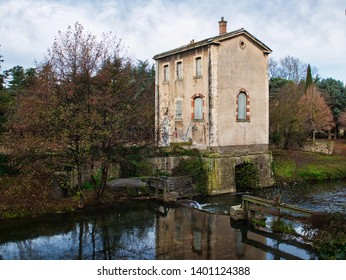 Carcassonne, Aude France. 12/13/17. This building used to house the pumps which lifted water for the fountains of the cite. Sited on the bank of side stream off from the main river Aude.
