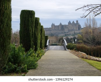 Carcassonne Aude France.  Carcasonne city in winter.  A view from the public garden beneath and on the oppsite bank of the river Aude