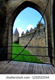 Carcassonne Cite tours seen from the draw bridge, Carcassonne, France