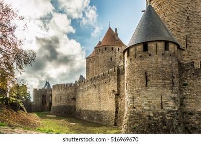 Carcassonne - France - 07 December 2015: Famous Cite Castle in C
