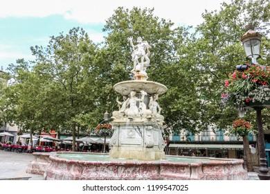 CARCASSONNE, FRANCE -20 JULY 2018: Fontaine de la place Carnot, Carcassonne, France.