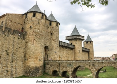 CARCASSONNE, FRANCE -20 JULY 2018 :  Chateau Contal in the Old Fortress - Cité Carcassonne, France.