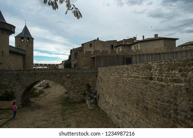 CARCASSONNE, FRANCE 2017; Carcassonne city medieval fortress walls, France