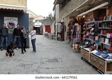 Carcassonne, France - April 27: Capture photo of the narrow street on April 27, 2017 in Carcassonne, France.