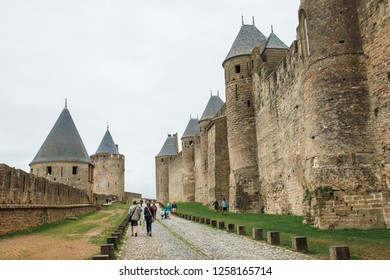 Carcassonne, France - Aug 31 2017: Carcassonne Castle is located at Carcassonne city - the largest walled city in Europe - which is French fortified city in the department of Aude, Occitanie region.