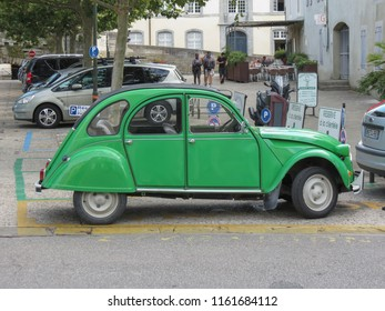 CARCASSONNE, FRANCE - CIRCA AUGUST 2018: green Citroen 2cv car