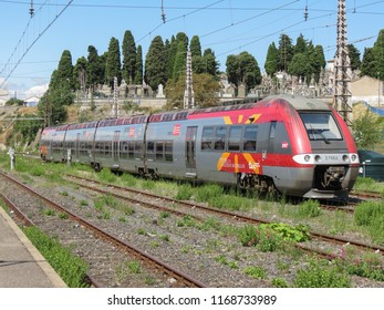 CARCASSONNE, FRANCE - CIRCA AUGUST 2018: train parked at the station