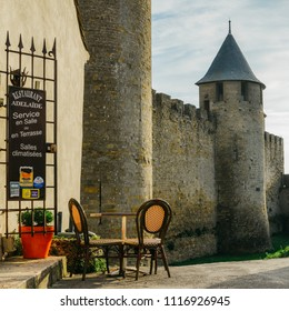 Carcassonne, France - June 14th, 2018: Carcassonne, a hilltop town in southern France, is an UNESCO World Heritage Site famous for its medieval citadel