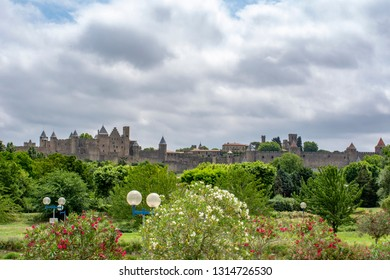 Carcassonne, France; June  201: Carcassonne Castle is located at Carcassonne city - the largest walled city in Europe - which is French fortified city in the department of Aude, Occitanie region.