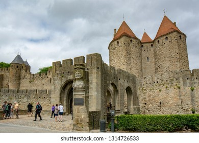 Carcassonne, France; June  2015: Carcassonne Castle is located at Carcassonne city - the largest walled city in Europe - which is French fortified city in the department of Aude, Occitanie region.
