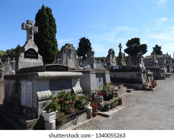 Carcassonne, France, June 27, 2016: cemetery in Carcassonne before medieval fortification of the fortress, France.