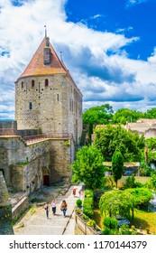 CARCASSONNE, FRANCE, JUNE 28, 2017: Fortification of Carcassonne, France