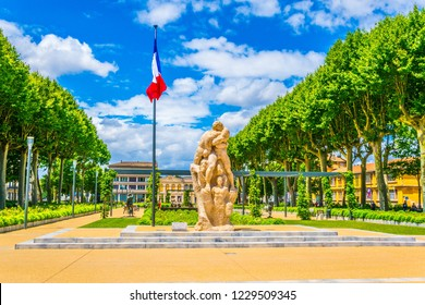 CARCASSONNE, FRANCE, JUNE 28, 2017: View of the Gambetta square in Carcassonne, France