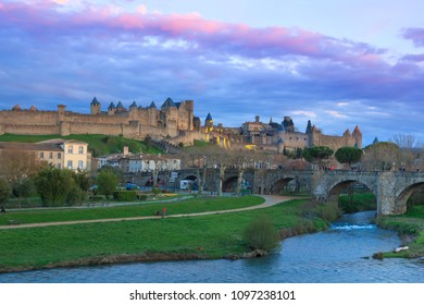CARCASSONNE, FRANCE: MARCH 30, 2018: View of the medieval Citadel and bridge over river Aude in Carcassonne, France