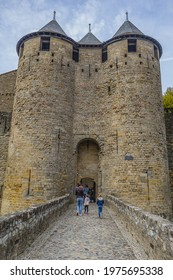 Carcassonne, France - October 28, 2019: Carcassonne Chateau Comtal (Count's Castle, 12th century) and ramparts of medieval fortified city.