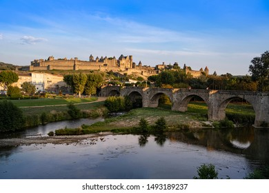 Carcassonne, France, on a summer evening, the Citadel known locally as La Cite, is the second most popular tourist destination in France. Designated UNESCO world heritage site.