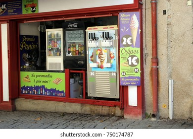 Carcassonne, Languedoc-Roussillon, France - August 24 2017: Traditional small French ice cream, crepe and waffle shop, common in the South of France