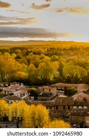 Carcassonne suburban in autumn colours at golden hour sunlight. Vertical rural landscape in sunset time.