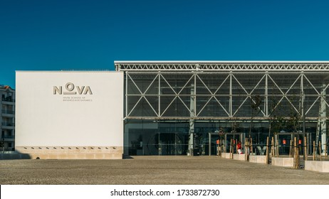 Carcavelos, Portugal - May 17, 2020: Main entrance of Nova University executive education, school of business and economics. New avant garde modernist architecture.
