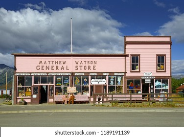 CARCROSS, YUKON, CANADA - AUGUST 14, 2018: Matthew Watson General Store is the oldest store operated in the Yukon.