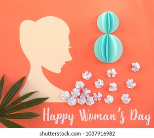 Card for 8 March women's day. Abstract background with text and flowers . Paper cut and craft style.