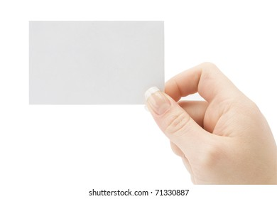 a card blank in a hand on a white background