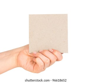 card blank in a hand on the white