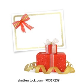 Card for congratulation or invitation with gift boxes decorated with bows and ribbons
