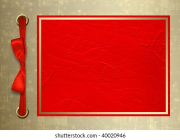 Card for congratulation or invitation with gold frame and red bow