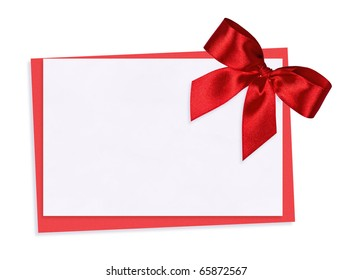 The card decorated with a red bow
