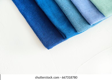 A card with fabric texture. Blue colors. Isolated. Copy space.