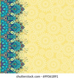 Card with floral oriental border. Ornament with peacock feather elements and abstract backdrop. Place for your text.