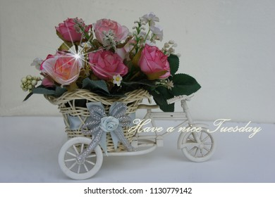 A card with flowers in a bike basket
