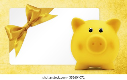 card gift with piggy bank, golden ribbon bow, Isolated on yellow background