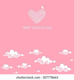Card Happy Valentine's Day. Bird, hearts, clouds