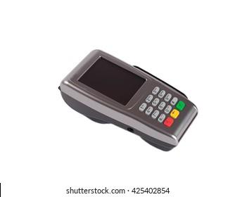 Card machine pos terminal  modern device with nfc near field communication isolated on white