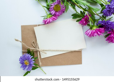 card mockup with asters. invitation cards with eucaliptus