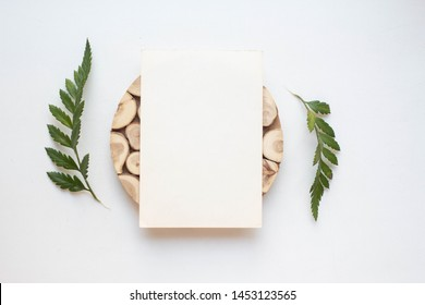 card mockup with cross-section of a tree, leaves ans stones