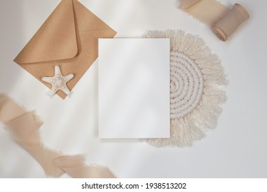 Card mockup with envelope and starfish