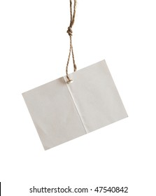 card is on the string on white