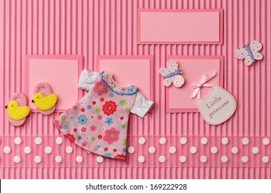 Card on a theme of the newborn with space for baby girl name