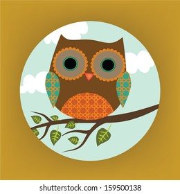 Card with owl and tree
