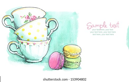 card with painted watercolor french dessert macaroons and tea cups