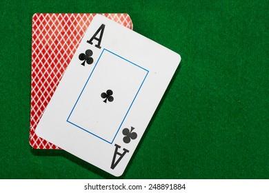 card poker on green cloth