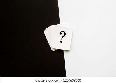 Card of question mark on black and white background. Copy space. Empty place for  text, plans, thoughts or other good and not so good ideas for making decision. Pros and cons concept.