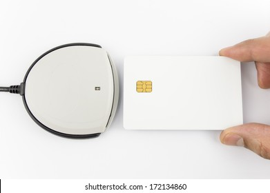 card reader with blank authentication card isolated on white