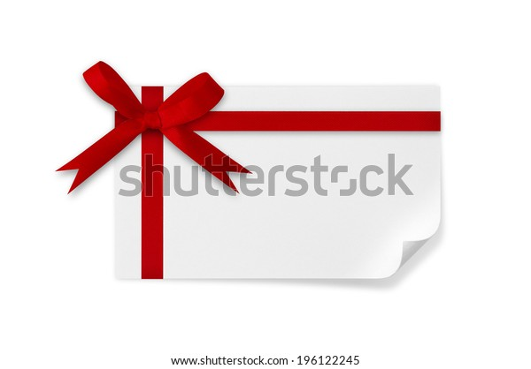 Card and red bow on a white background.