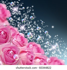 Card with roses, bubbles and stars