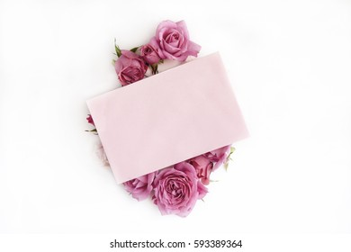 Card with roses on white background
